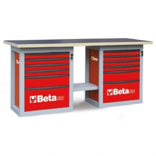 "Beta C59B-R ""Endurance"" Workbench With Two Cabs With Six Drawers (Red)"